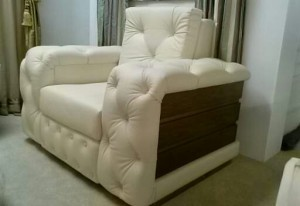 Custom made, All in leather tufted chair